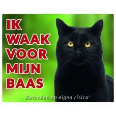 Standaard waakbord Kat zwart